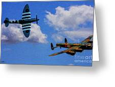 Supermarine Spitfire Mk1 And Avro Lancaster - Oil Greeting Card