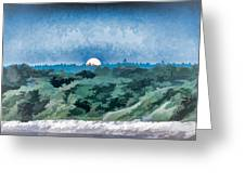 Supermoon Rising - Painted Effect Greeting Card