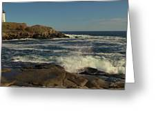 Surf At Nubble Light Greeting Card