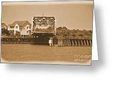 Surf City Vintage Swing Bridge In Sepia 1 Greeting Card