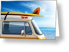 Surf Van Greeting Card by Carlos Caetano
