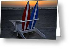 Surfboard Chair Sunset Greeting Card