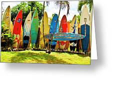 Surfboard Fence II-the Amazing Race Greeting Card