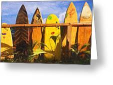 Surfboard Garden Greeting Card