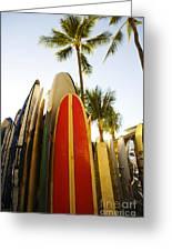 Surfboards At Waikiki Greeting Card