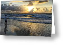 Surfcaster Sunrise Delray Beach Florida Greeting Card