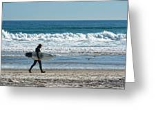 Surfer And His Board Greeting Card