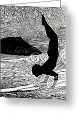 Surfer And Waikiki Greeting Card