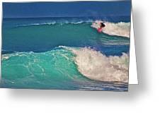 Surfer At Aneaho'omalu Bay Greeting Card by Bette Phelan