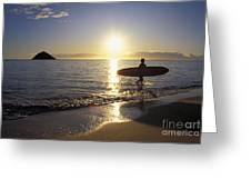 Surfer At Sunrise Greeting Card by Ali ONeal - Printscapes