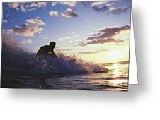 Surfer At Sunset Greeting Card