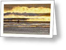 Surfer Faces Wind And Waves, Morro Bay, Ca Greeting Card