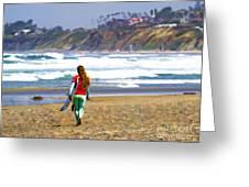Surfer Girl At Seaside, Ca Greeting Card
