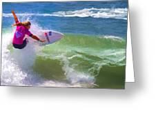 Surfer Girl Taking Flight Greeting Card