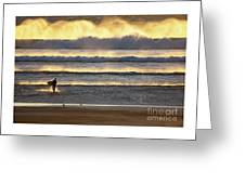Surfer Heads Into The Waves And Mist Greeting Card