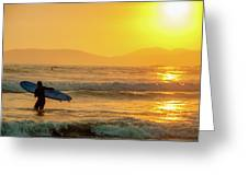 Surfer In The Golden Ocean Greeting Card
