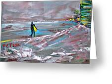 Surfer On A Foggy Day Greeting Card