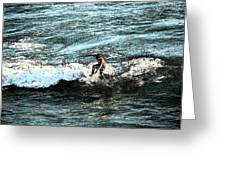 Surfer On Wave Greeting Card