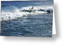 Surfer Riding A Wave Greeting Card by Brandon Tabiolo - Printscapes
