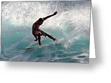 Surfer Slashing The Blue Waves At Dumps Maui Hawaii Greeting Card by Pierre Leclerc Photography