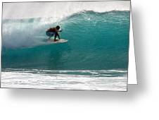 Surfer Surfing In The Tube Of Blue Waves At Dumps Maui Hawaii Greeting Card