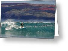Surfer Surfing The Blue Waves At Dumps Maui Hawaii Greeting Card