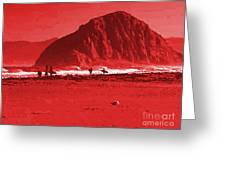 Surfers On Morro Rock Beach In Red Greeting Card