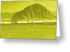 Surfers On Morro Rock Beach In Yellow Greeting Card