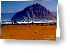 Surfers On Morro Rock Beach Greeting Card