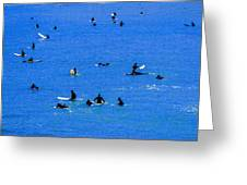 Surfers Waiting And Waiting Greeting Card