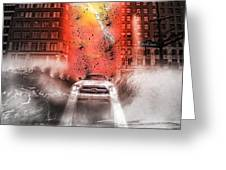 Surfing 5th Avenue Greeting Card by Barry C Donovan