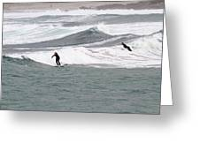 Surfing At Sennen Cove Cornwall Greeting Card