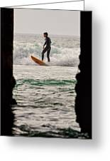 Surfing By The Pier Greeting Card