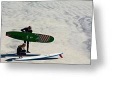Surfing Couple Greeting Card