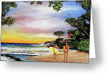 Surfing In Rincon Greeting Card by Luis F Rodriguez