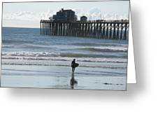 Surfing In San Clemente Greeting Card