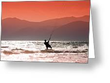 Surfing Into The Sunset Greeting Card