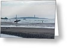 Surfing On Good Harbor Beach Gloucester Ma Greeting Card