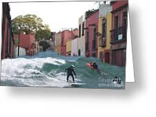 Surfing Quebrada Greeting Card