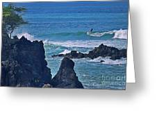 Surfing The Rugged Coastline Greeting Card