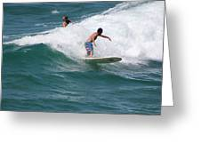 Surfing The White Wave At Huntington Beach Greeting Card