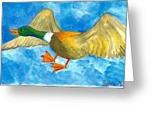 Surprised Flying Duck Detail Of Duck Meets Fairy Ballet Class Greeting Card