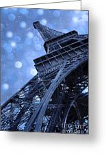 Surreal Blue Eiffel Tower Architecture - Eiffel Tower Sapphire Blue Bokeh Starry Sky Greeting Card