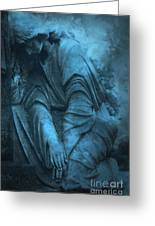 Surreal Cemetery Grave Mourner In Blue Sorrow  Greeting Card