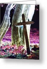 Surreal Crucifixion Greeting Card by Karin Kohlmeier