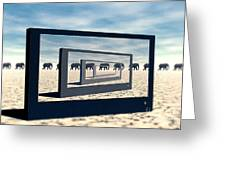 Surreal Elephant Desert Scene Greeting Card