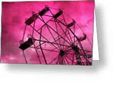 Surreal Fantasy Dark Pink Ferris Wheel Carnival Ride Starry Night - Pink Ferris Wheel Home Decor Greeting Card