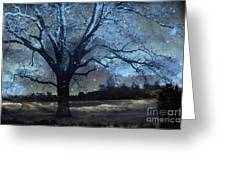 Surreal Fantasy Fairytale Blue Starry Trees Landscape - Fantasy Nature Trees Starlit Night Wall Art Greeting Card
