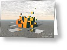 Surreal Floating Cubes Greeting Card