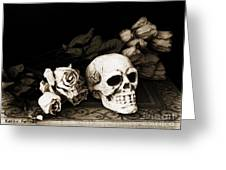 Surreal Gothic Dark Sepia Roses And Skull  Greeting Card